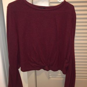 red crop top, long sleeve sweater